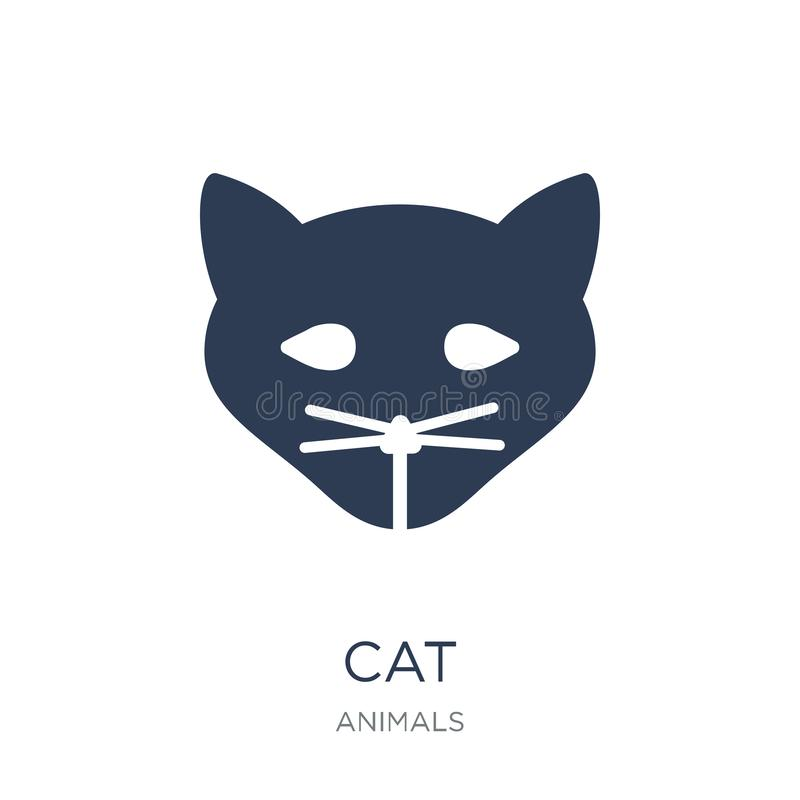 Het pictogram van de kat In vlak vectorkattenpictogram op witte achtergrond van a vector illustratie