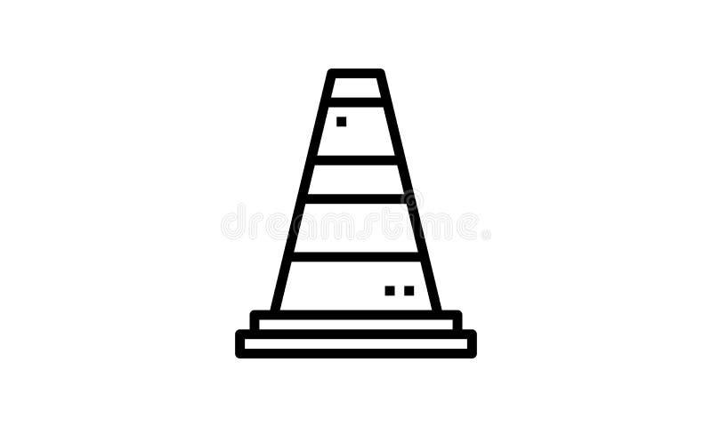 Het pictogram van de kegellijn, overzichtsteken, lineair die stijlpictogram op wit wordt geïsoleerd stock illustratie