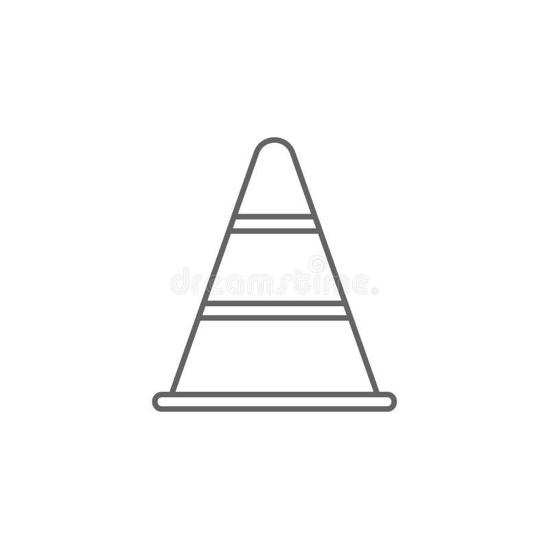 Het pictogram van het de kegeloverzicht van het rechtvaardigheidsverkeer Elementen van de lijnpictogram van de Wetsillustratie De stock illustratie