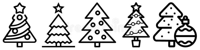 Het pictogram van de kerstboomlijn, verfraaid naaldboomoverzicht en gevuld vectorteken, lineair en volledig die pictogram op wit, stock illustratie