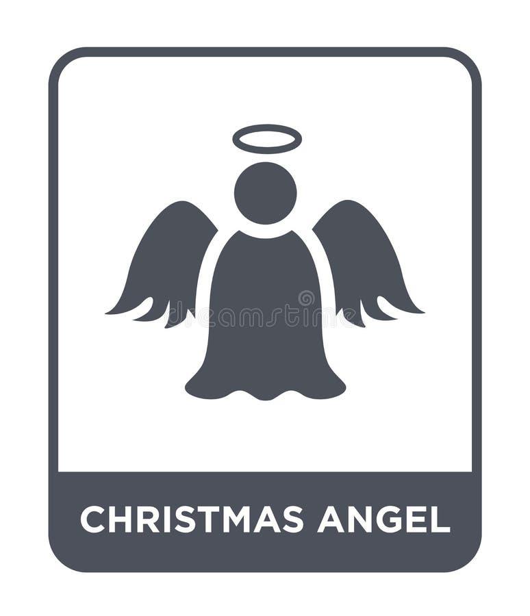 het pictogram van de Kerstmisengel in in ontwerpstijl het pictogram van de Kerstmisengel op witte achtergrond wordt geïsoleerd di vector illustratie