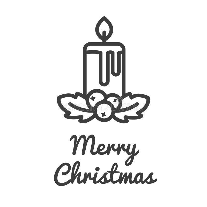Het pictogram van de Kerstmiskaars en hulstbes in het ontwerp van de lijnstijl Vector illustratie royalty-vrije illustratie