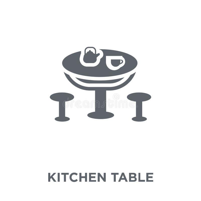Het pictogram van de keukenlijst van Meubilair en huishoudeninzameling royalty-vrije illustratie