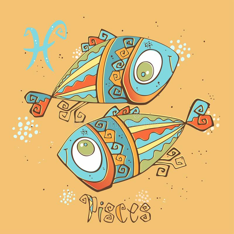Het pictogram van de kinderen` s horoscoop Dierenriem voor jonge geitjes Vissenteken Vector Astrologisch symbool als beeldverhaal stock illustratie