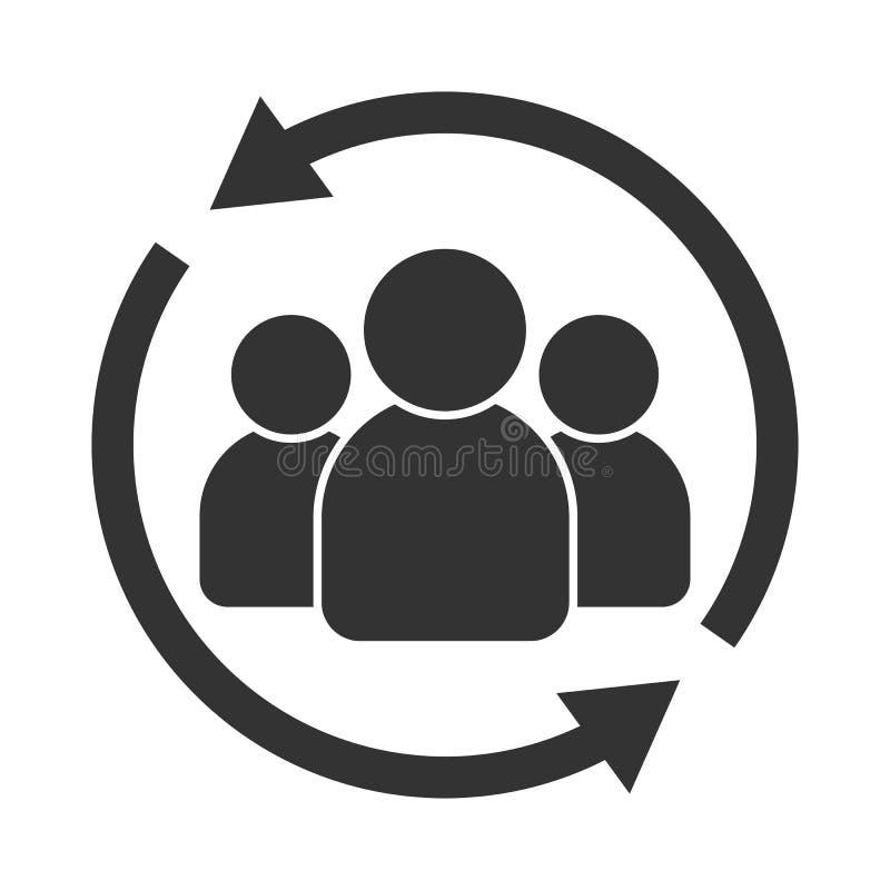 Het pictogram van de klanteninteractie Van cliënt het terugkeren of renention symbool royalty-vrije illustratie
