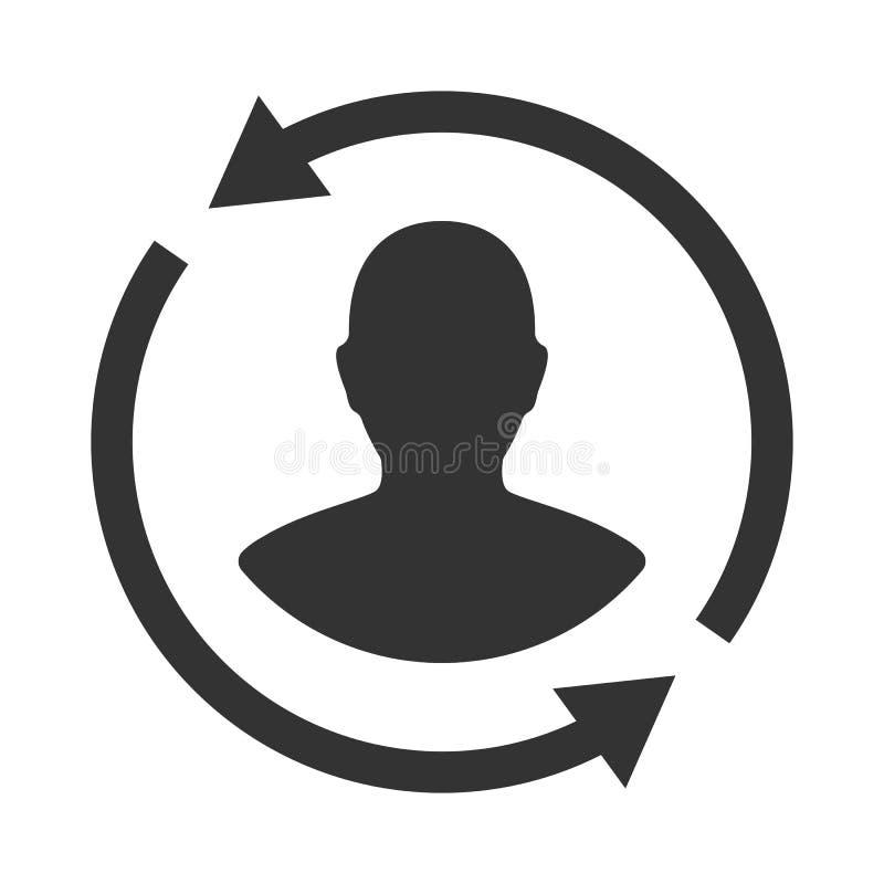 Het pictogram van de klanteninteractie Van cliënt het terugkeren of renention symbool vector illustratie