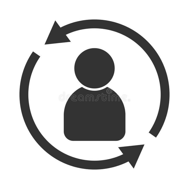 Het pictogram van de klanteninteractie Van cliënt het terugkeren of renention symbool stock illustratie