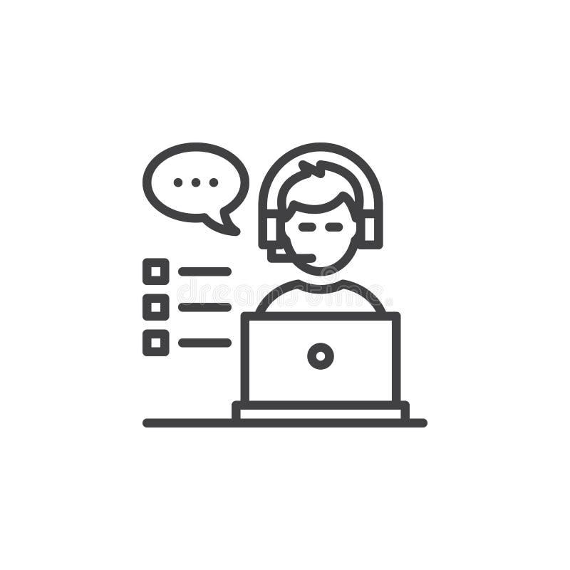 Het pictogram van de klantenondersteuningslijn, overzichts vectorteken, lineair pictogram op wit stock illustratie