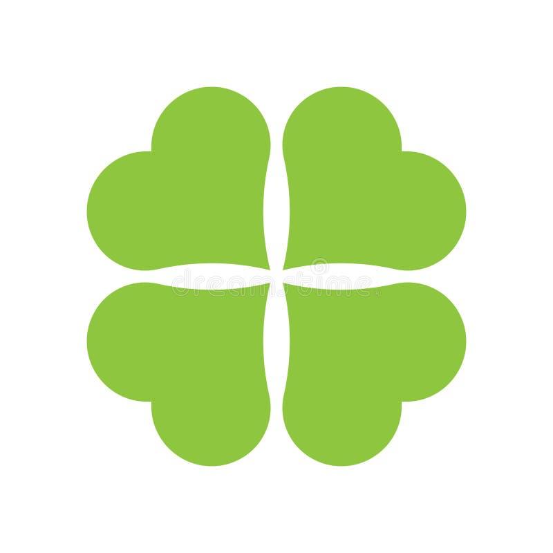 Het pictogram van de Klaver van vier Blad Groen die pictogram op witte achtergrond wordt ge?soleerd Eenvoudig pictogram Websitepa stock illustratie