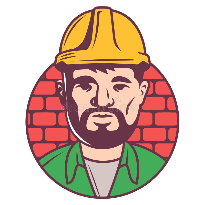 Het pictogram van de kleurenbouwer in helm op bakstenen vector illustratie