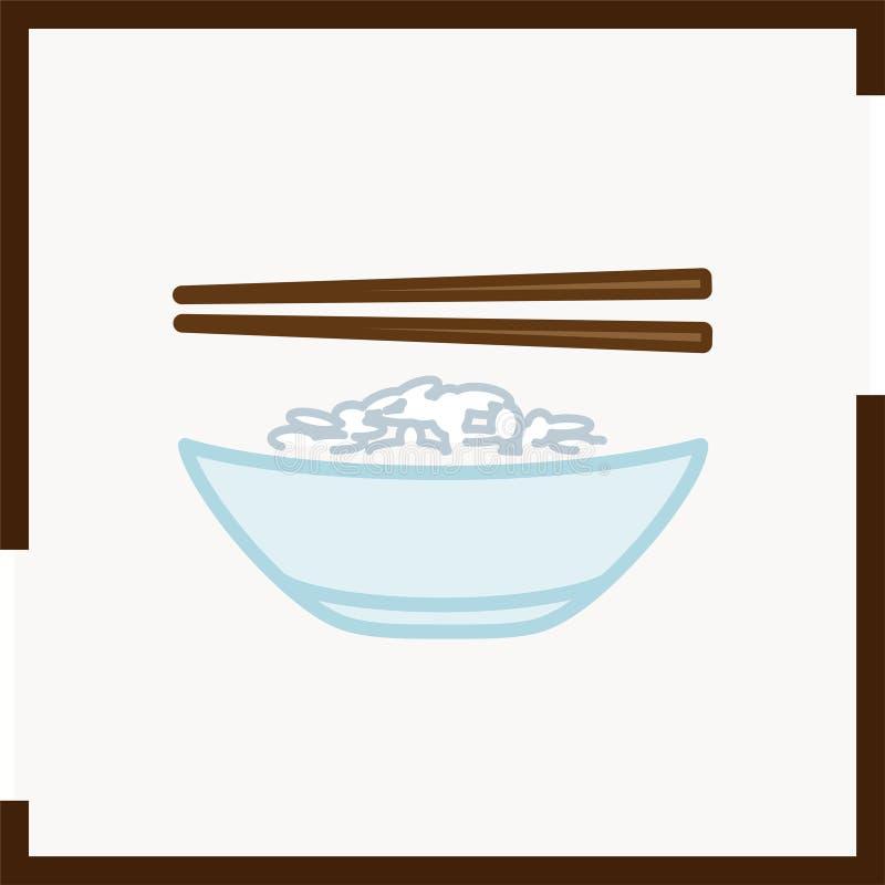 Het pictogram van de kleurenkom met rijst en eetstokjes die in een vierkant worden geplaatst royalty-vrije stock afbeelding