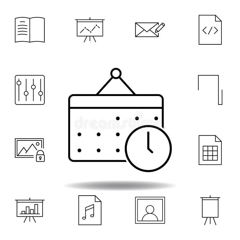 Het pictogram van het de klokoverzicht van de kalenderdatum Gedetailleerde reeks unigridillustratiespictogrammen van verschillend royalty-vrije illustratie