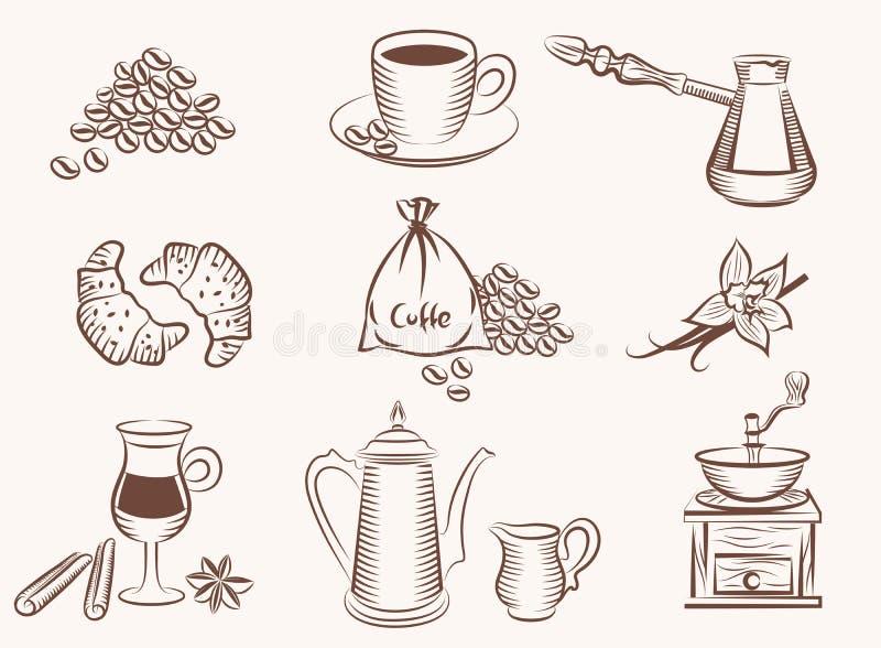 Het pictogram van de koffie royalty-vrije illustratie