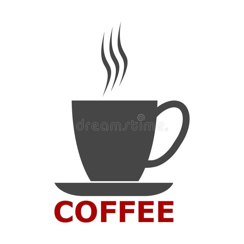 Het pictogram van de koffiekop, het embleem van de Koffiekop, Koffietijd, Koffiekop op witte achtergrond stock illustratie