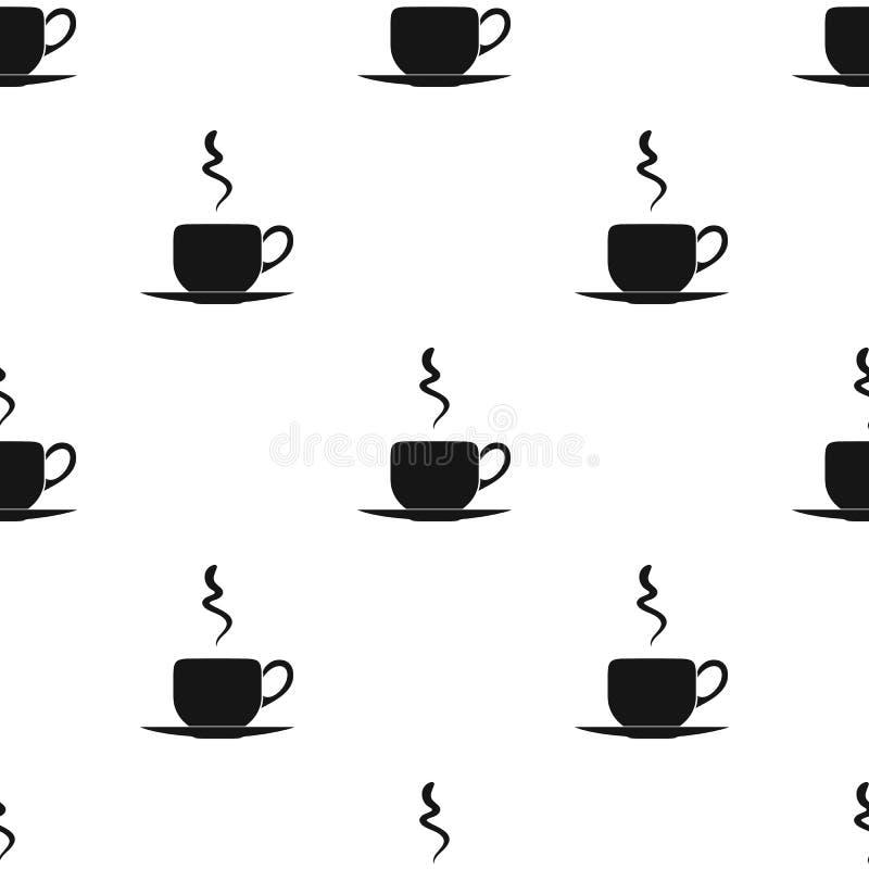 Het pictogram van de koffiekop in zwarte die stijl op witte achtergrond wordt geïsoleerd Restaurantpatroon stock illustratie