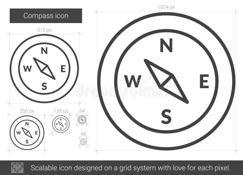 Het pictogram van de kompaslijn royalty-vrije illustratie