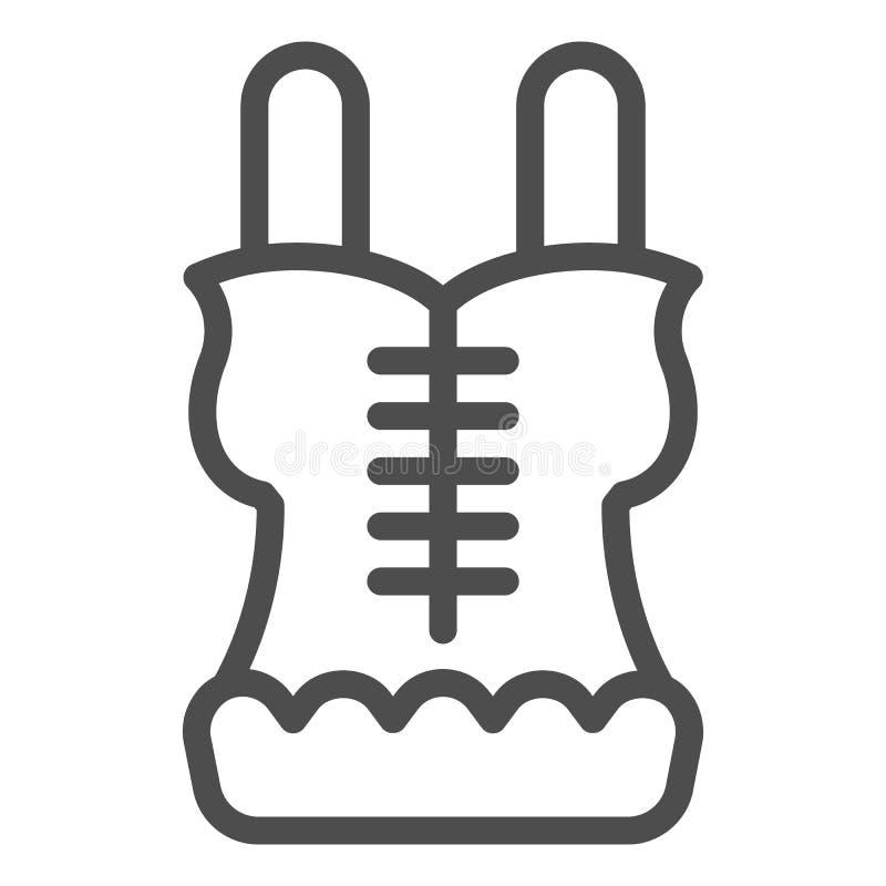 Het pictogram van de korsetlijn Lingerie vectordieillustratie op wit wordt ge?soleerd De stijlontwerp van het ondergoedoverzicht, stock illustratie