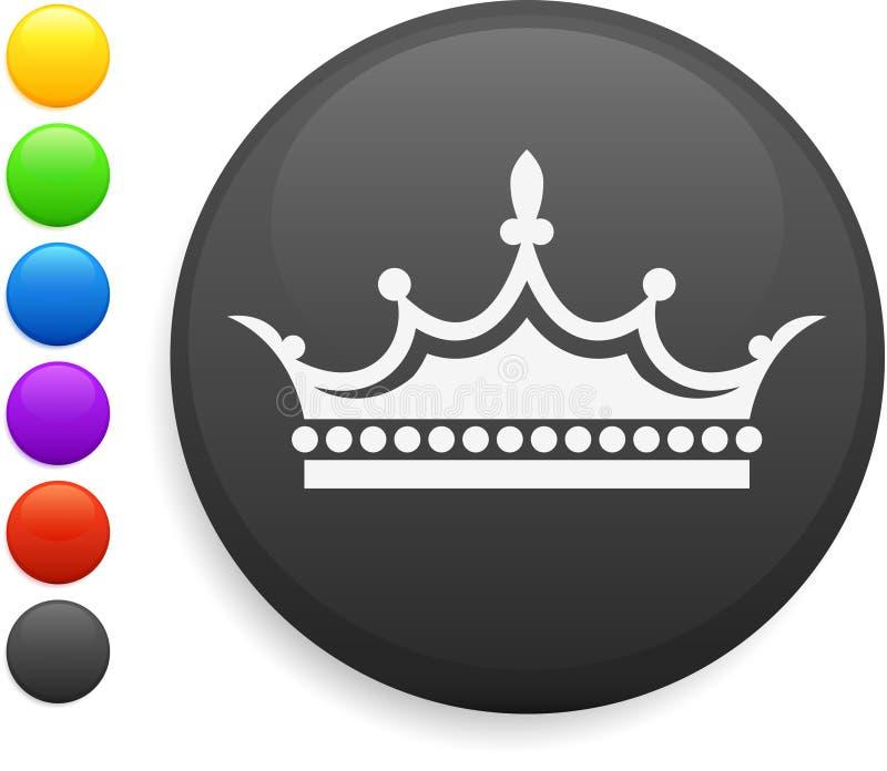 Het pictogram van de kroon op ronde Internet knoop vector illustratie