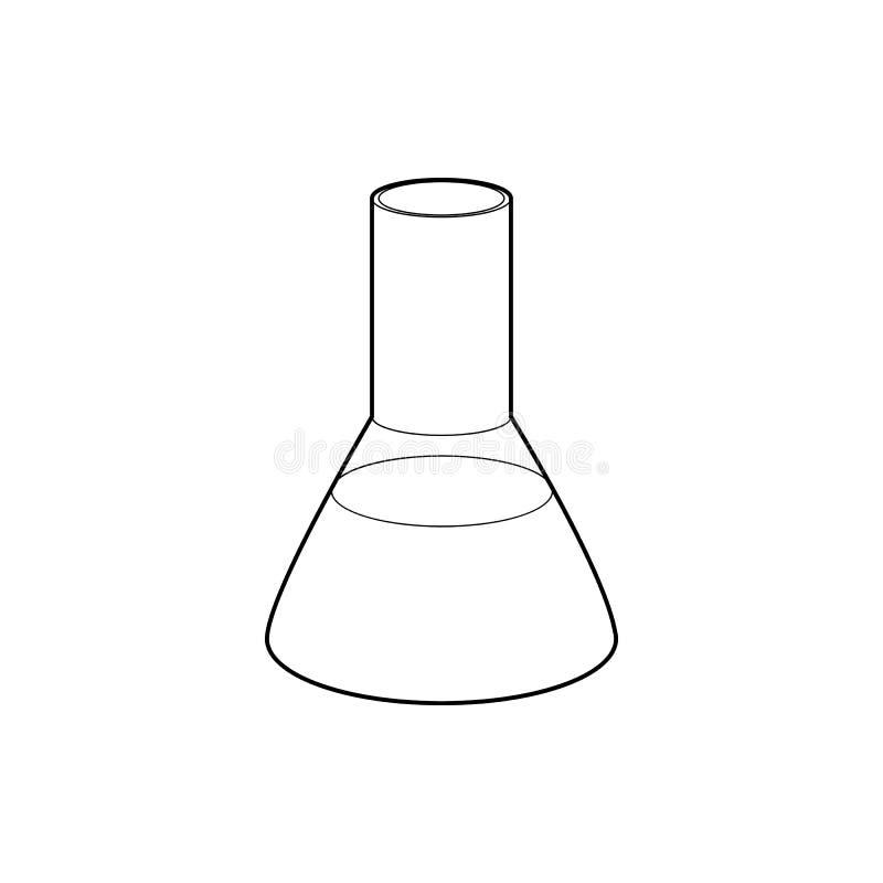 Het pictogram van de laboratoriumfles, overzichtsstijl stock afbeeldingen