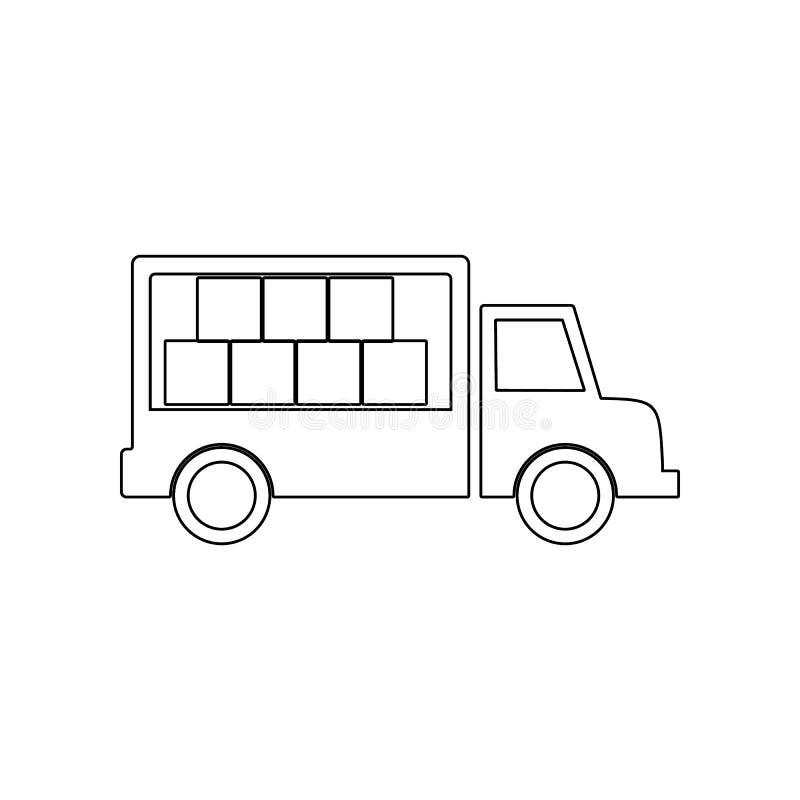 Het pictogram van de ladingsvrachtwagen Element van Logistisch voor mobiel concept en webtoepassingenpictogram Overzicht, dun lij stock illustratie
