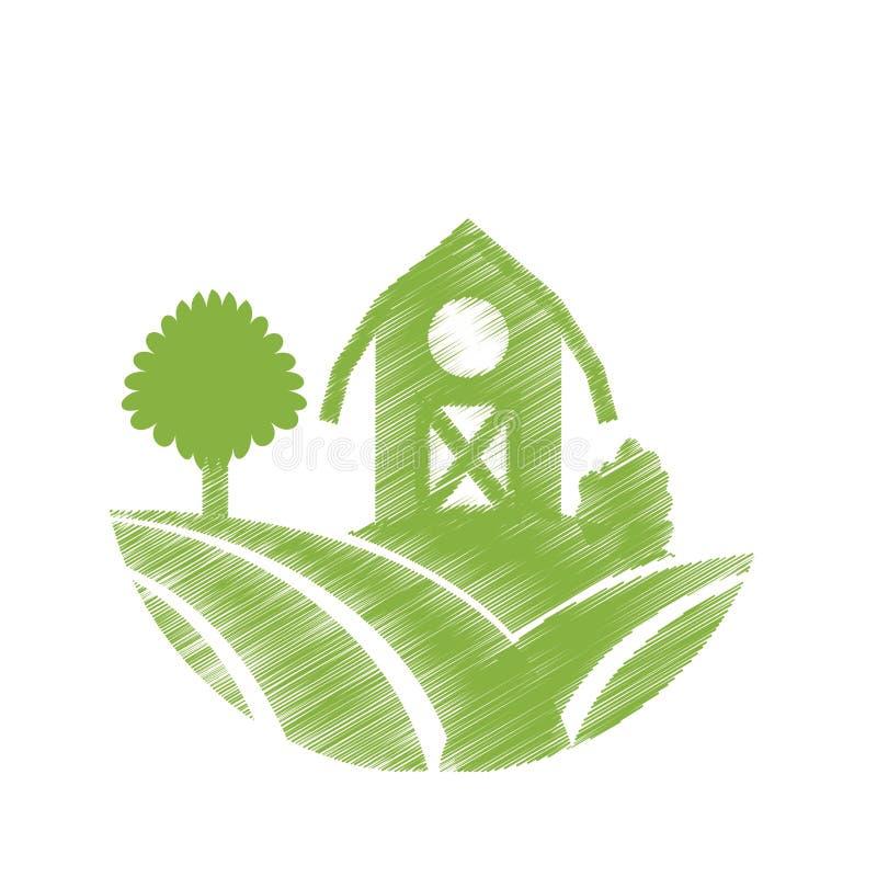 Het pictogram van de landbouwbedrijfschuur vector illustratie