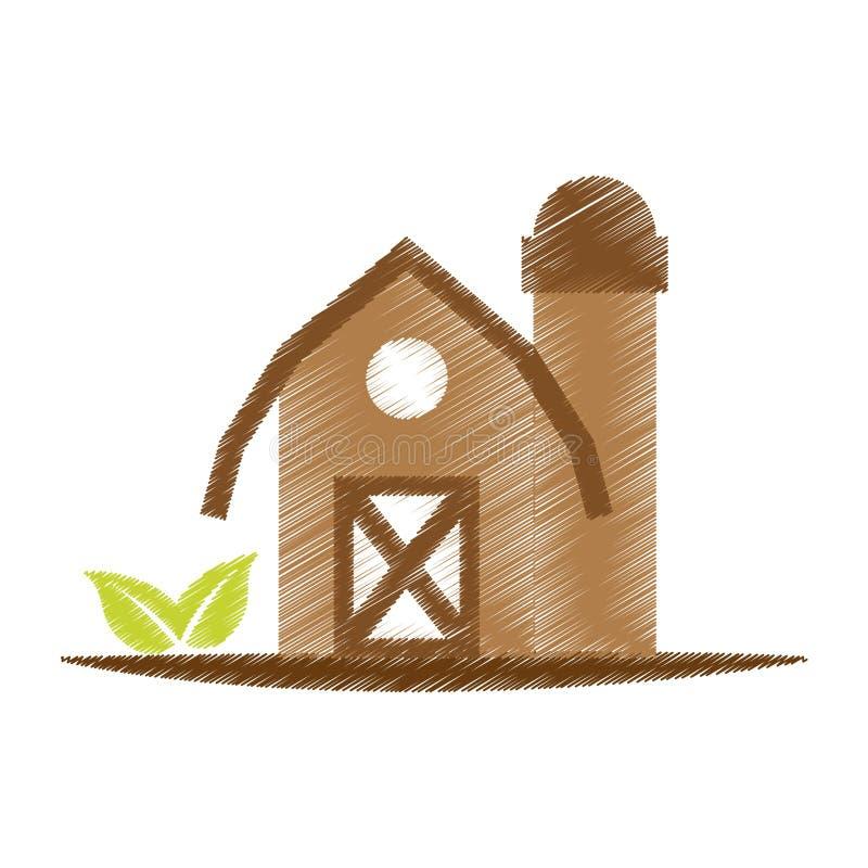 Het pictogram van de landbouwbedrijfschuur stock illustratie