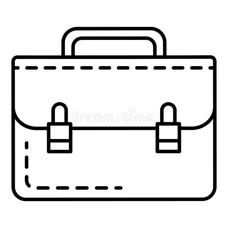 Het pictogram van de leerhandtas, overzichtsstijl vector illustratie