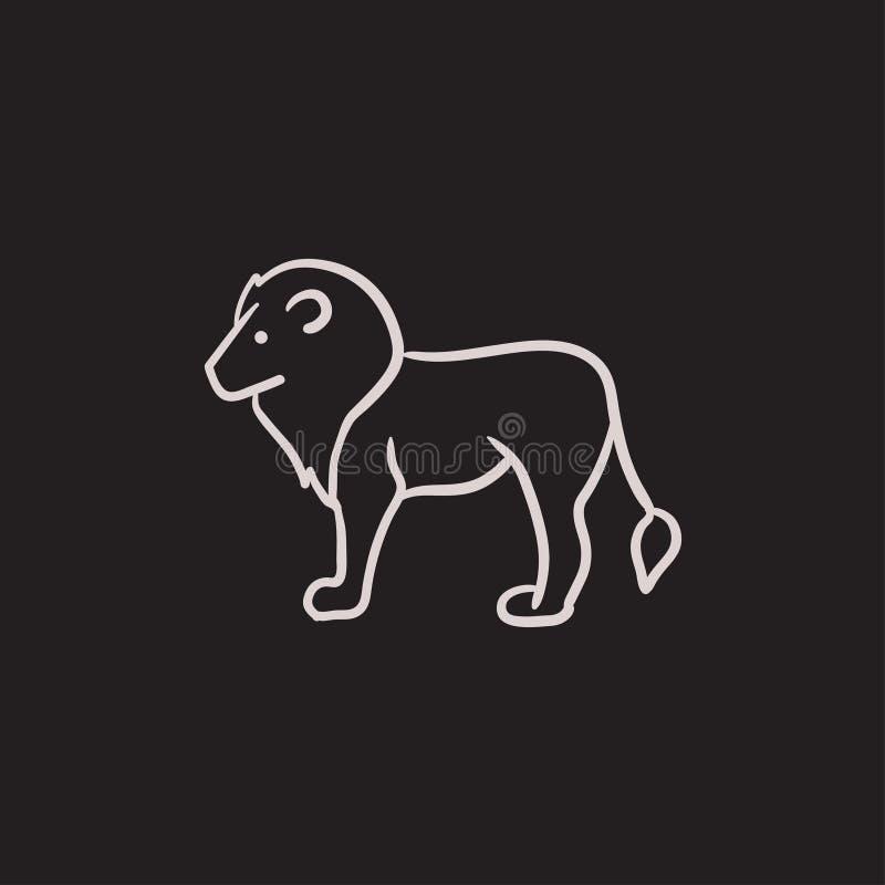 Het pictogram van de leeuwschets royalty-vrije illustratie