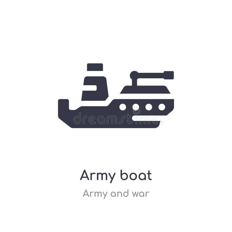 het pictogram van de legerboot geïsoleerde het pictogram vectorillustratie van de legerboot van leger en oorlogsinzameling editab vector illustratie