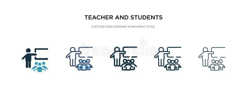 Het pictogram van de leraar en van de studenten in verschillende illustratie van de stijlvector twee gekleurde en zwarte leraar e royalty-vrije illustratie