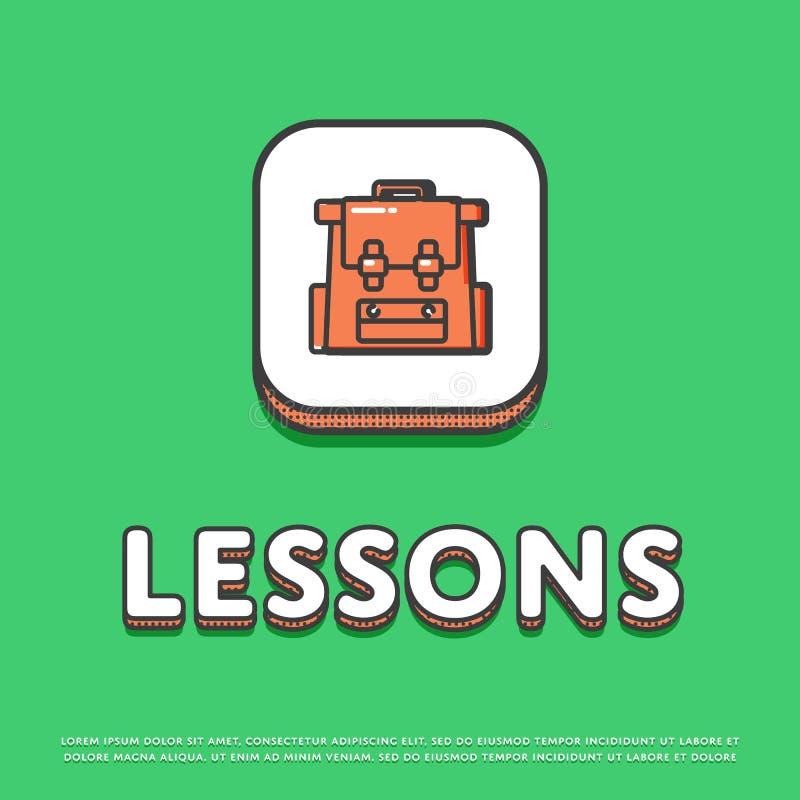 Het pictogram van de lessenkleur met schoolrugzak royalty-vrije illustratie
