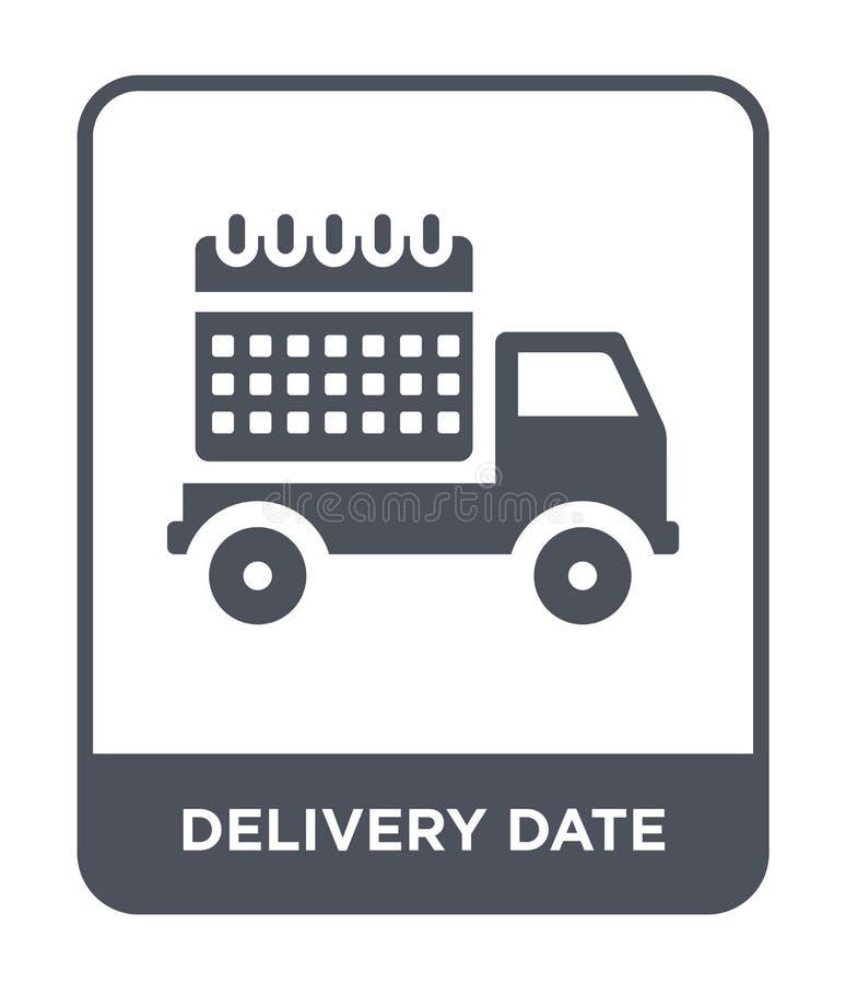 het pictogram van de leveringsdatum in in ontwerpstijl het pictogram van de leveringsdatum op witte achtergrond wordt geïsoleerd  royalty-vrije illustratie