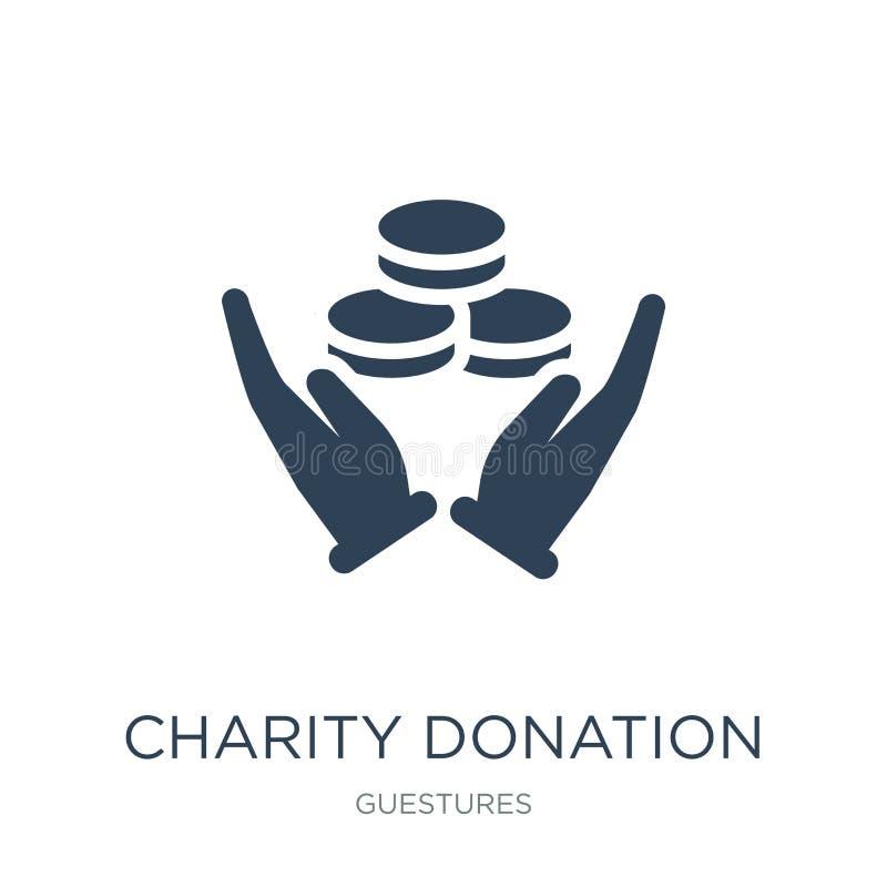 het pictogram van de liefdadigheidsschenking in in ontwerpstijl het pictogram van de liefdadigheidsschenking op witte achtergrond royalty-vrije illustratie