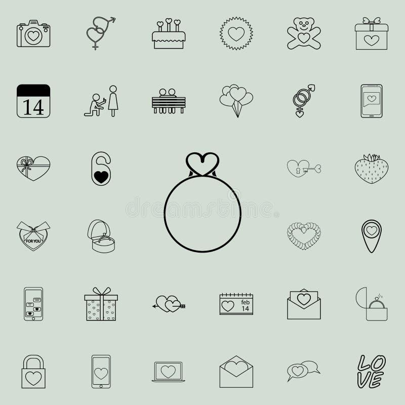 het pictogram van de liefdecirkel Gedetailleerde reeks Valentine-pictogrammen Grafisch het ontwerpteken van de premiekwaliteit Éé stock illustratie