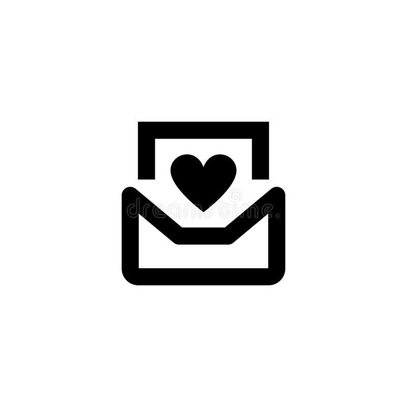 Het pictogram van de liefdeenvelop Valentine Sign vector illustratie