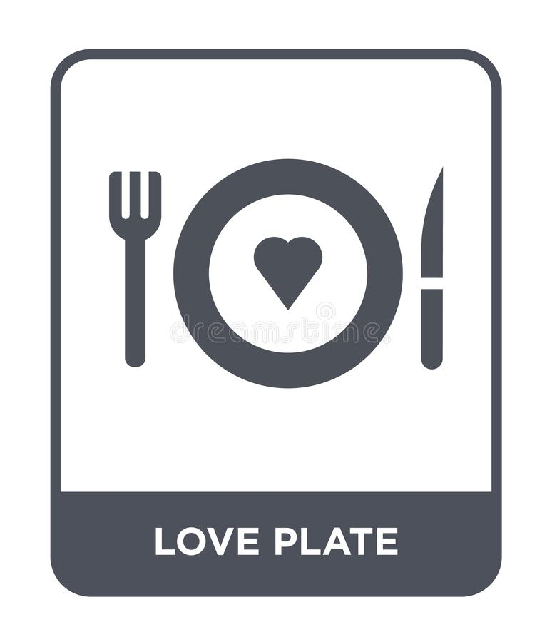 het pictogram van de liefdeplaat in in ontwerpstijl het pictogram van de liefdeplaat op witte achtergrond wordt geïsoleerd die he royalty-vrije illustratie