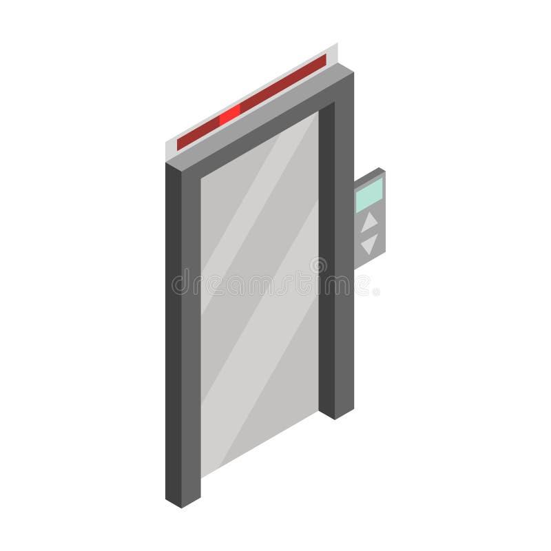 Het pictogram van de liftdeur, isometrische 3d stijl royalty-vrije illustratie