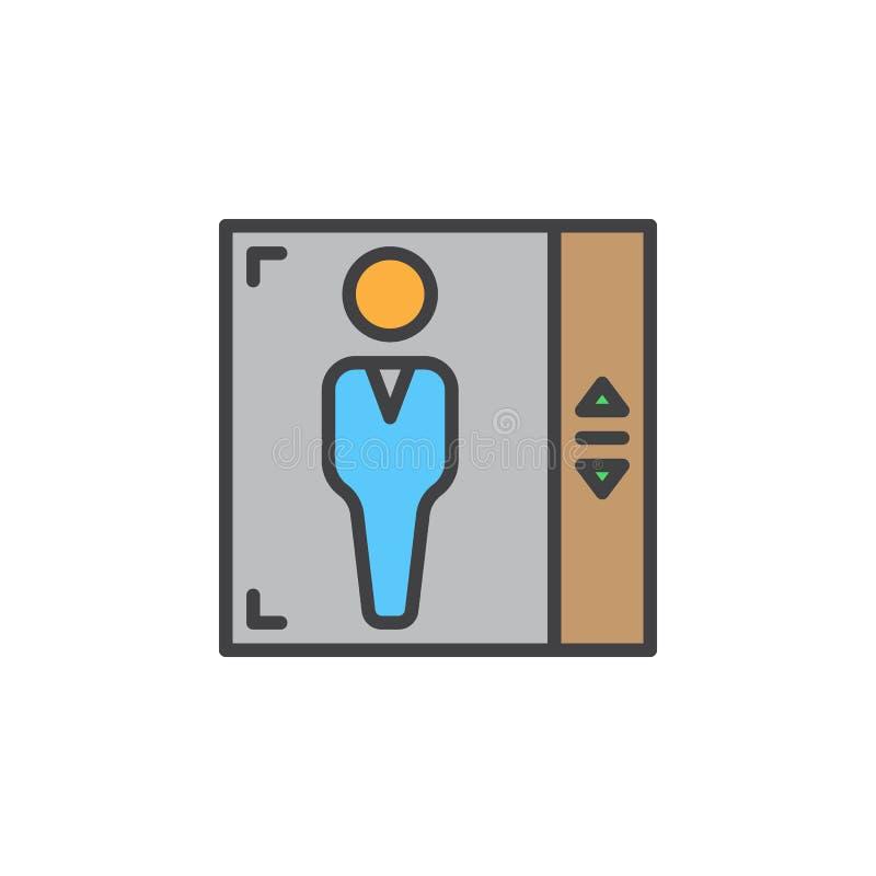 Het pictogram van de liftlijn, gevuld overzichts vectorteken, lineair kleurrijk die pictogram op wit wordt geïsoleerd vector illustratie