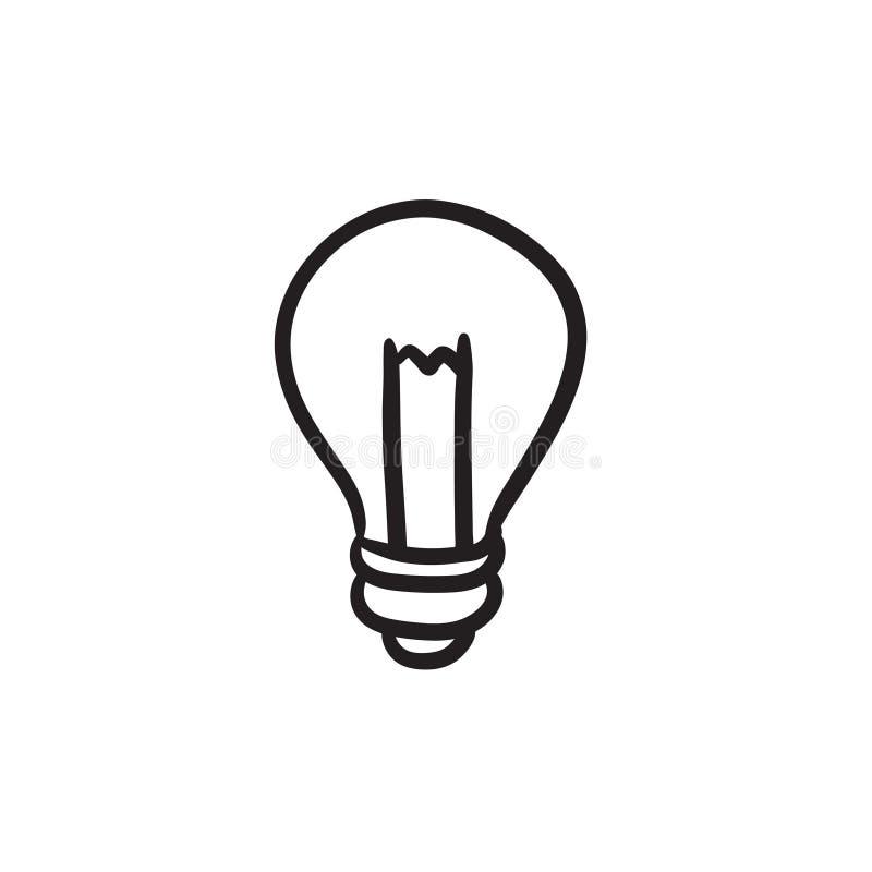 Het pictogram van de Lightbulbschets royalty-vrije illustratie