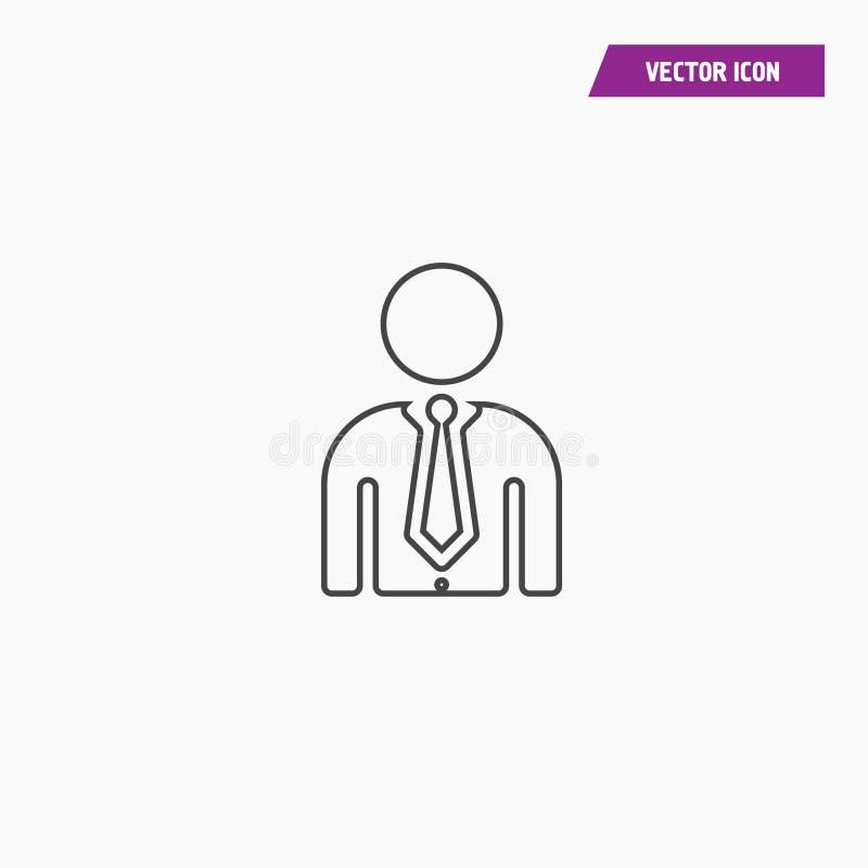 Het pictogram van de lijngebruiker van de mens in pak stock illustratie