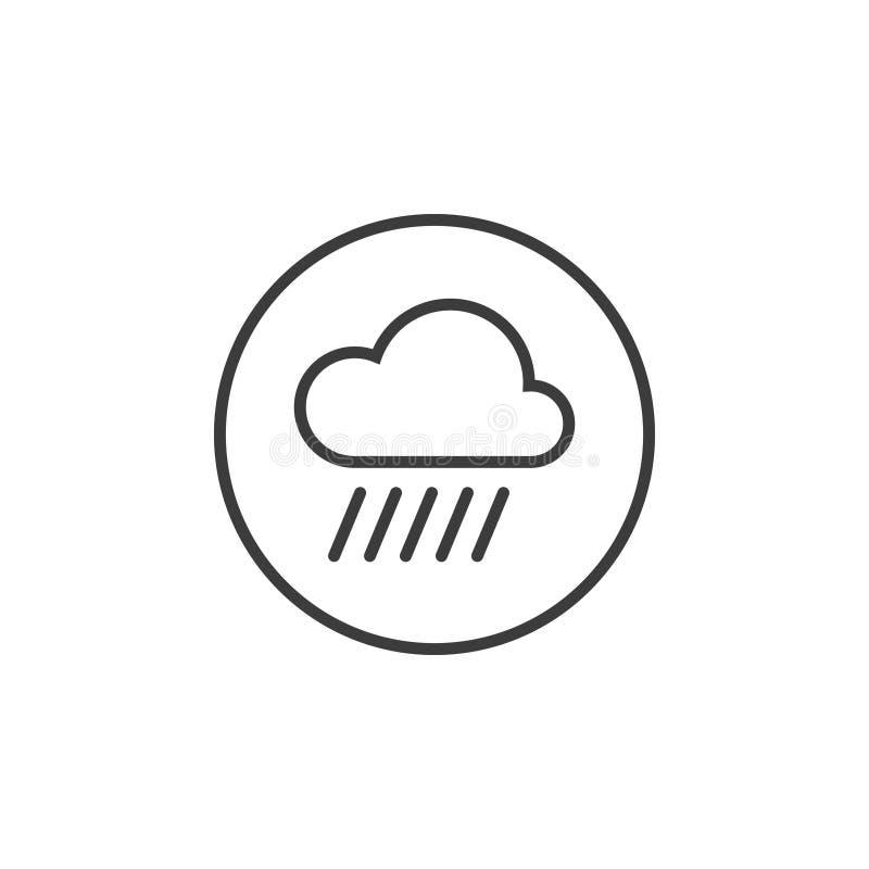 Het pictogram van de lijnkunst van regenwolk in het ronde kader royalty-vrije illustratie