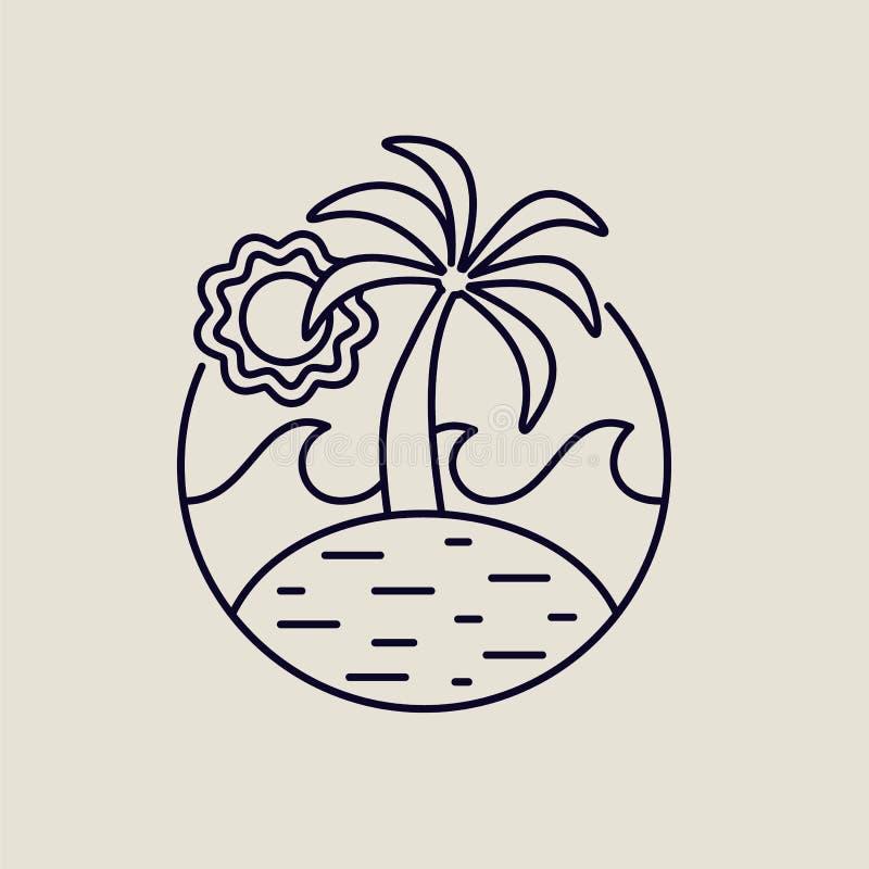 Download Het Pictogram Van De De Lijnkunst Van Het De Zomereiland Met Tropisch Strand Vector Illustratie - Illustratie bestaande uit modern, zegel: 114226791