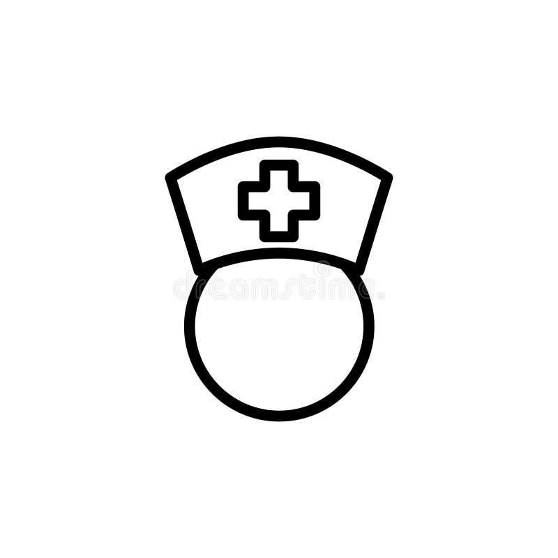 Het pictogram van de lijnverpleegster op witte achtergrond royalty-vrije stock afbeelding