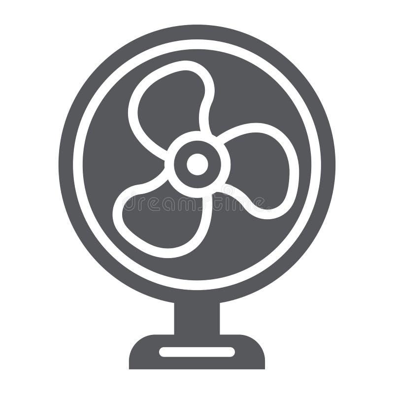 Het pictogram van de lijstventilator glyph, propeller en elektrisch, lucht koeler teken, vectorafbeeldingen, een stevig patroon o vector illustratie
