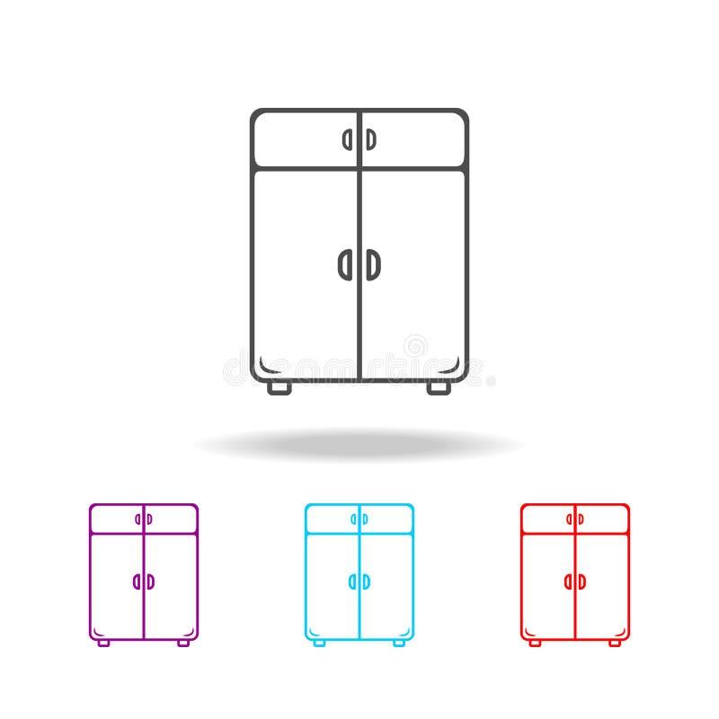 het pictogram van de linnenkast Elementen van meubilair in multi gekleurde pictogrammen Grafisch het ontwerppictogram van de prem royalty-vrije illustratie