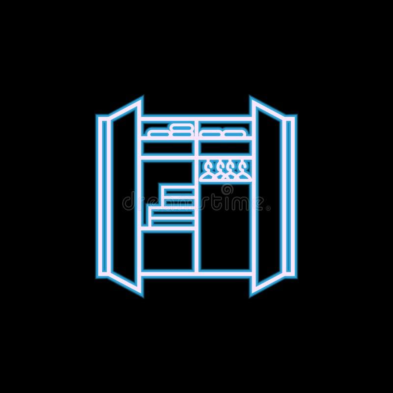 het pictogram van de linnenkast in neonstijl Één van het pictogram van de Meubilairinzameling kan voor UI, UX worden gebruikt royalty-vrije illustratie