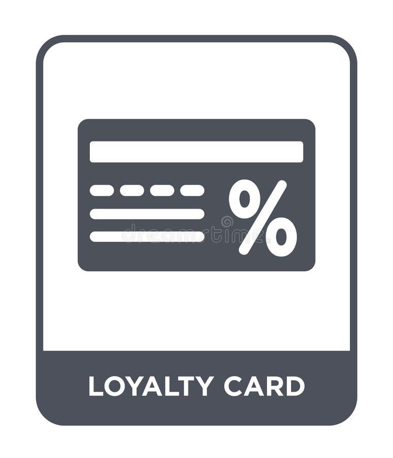 het pictogram van de loyaliteitskaart in in ontwerpstijl het pictogram van de loyaliteitskaart op witte achtergrond wordt geïsole royalty-vrije illustratie