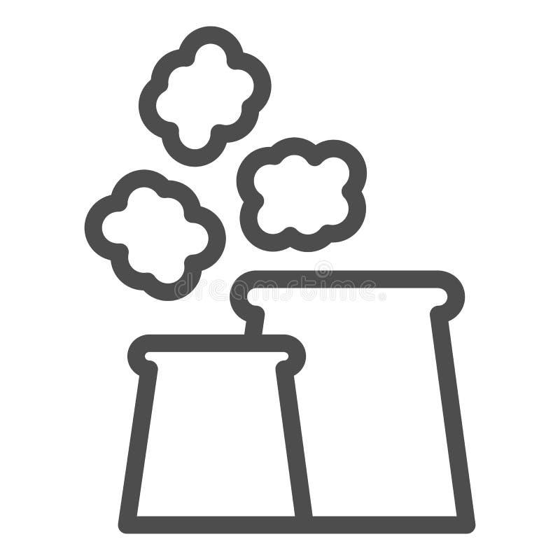 Het pictogram van de luchtvervuilingslijn De vectordieillustratie van luchtemissies op wit wordt geïsoleerd Het ontwerp van de h stock illustratie