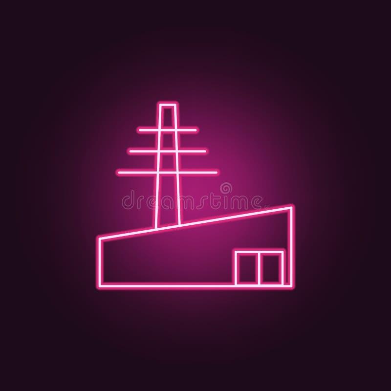 het pictogram van de machtstoren Elementen van Productie in de pictogrammen van de neonstijl Eenvoudig pictogram voor websites, W royalty-vrije illustratie