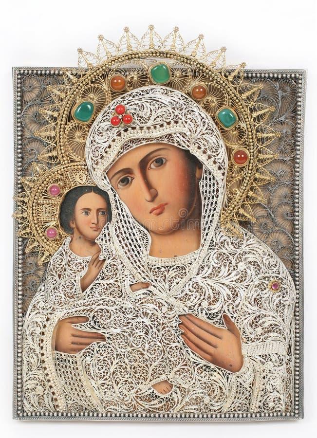 Het pictogram van de madonna en van het kind stock afbeelding